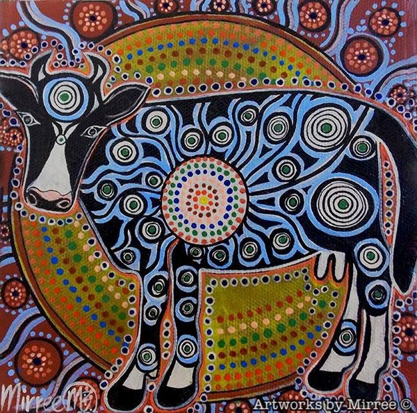 SACRED COW Framed Canvas Print by Mirree Contemporary Aboriginal Art