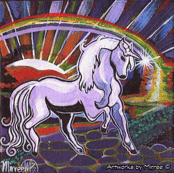 Unicorn Dreaming with Rainbow Framed Canvas Print by Mirree Contemporary Aboriginal Art