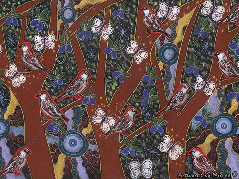 'ANCESTRAL SPARROW' Spiritual Integrity A3 Girlcee Print by Mirree Contemporary Aboriginal Art