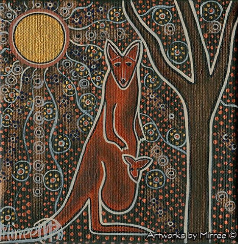 STARLIGHT OF THE UNIVERSE WITH KANGAROO & BABY Framed Canvas Print by Mirree Contemporary Aboriginal Art