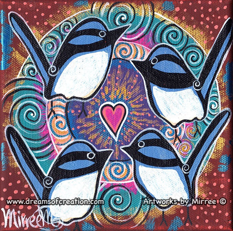 'Blue Wren Activating Heart' Original Painting by Mirree Contemporary Dreamtime Animal Dreaming