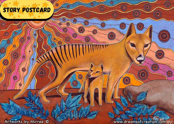 Tasmanian Tiger Aboriginal Art A6 Story PostCard Single by Mirree