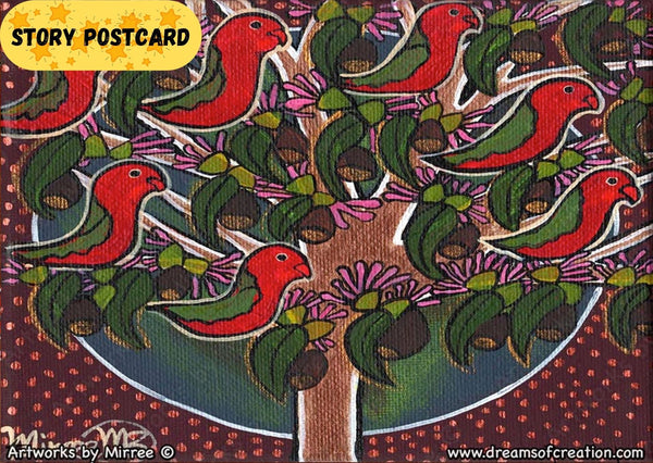 'Australian King Parrots in Tree' Life Changing Aboriginal Art A6 Story PostCard Single by Mirree