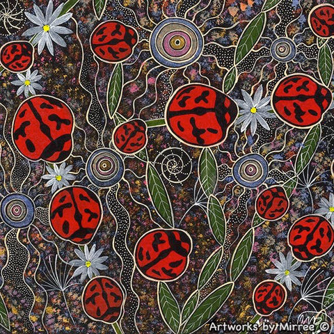 ANCESTRAL LADY BEETLE WITH FLOWER MEDICINE Framed Canvas Print by Mirree Contemporary Aboriginal Art