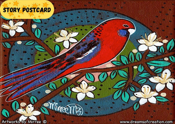 Australian Crimson Rosella Dreaming Aboriginal Art A6 Story PostCard Single by Mirree