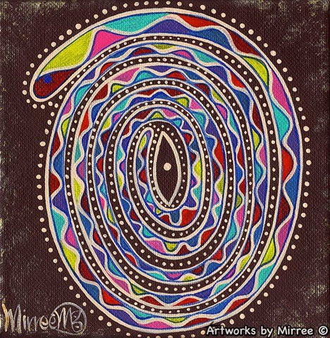RESTING RAINBOW SERPENT Framed Canvas Print by Mirree Contemporary Aboriginal Art