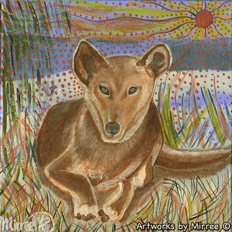 'Australian Desert Dingo by Dune Side ~ Paradise' Original Painting by Mirree Contemporary Dreamtime Animal Dreaming
