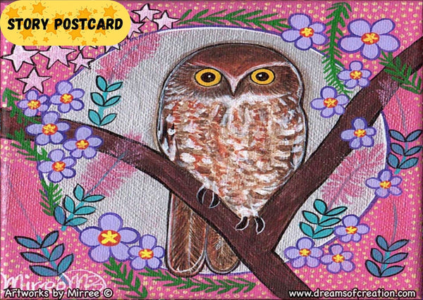 'Australian Boo Book Owl Moon Dreaming' Aboriginal Art A6 Story PostCard Single by Mirree