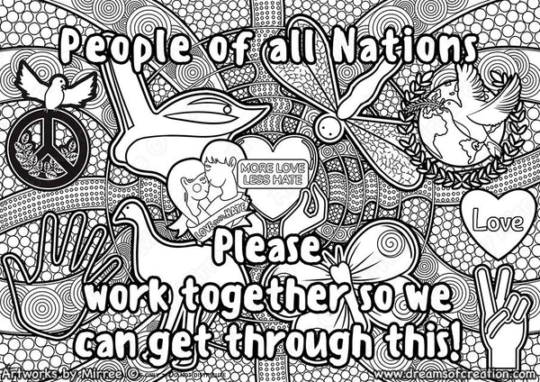 'People of all Nations' Colouring Single PDF Page COLOURING PAGE' by Mirree Contemporary Dreamtime Series