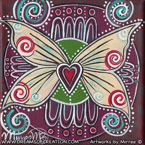 'Silver Lining Ancestral Butterfly with Heart' Original Painting by Mirree Contemporary Dreamtime Animal Dreaming