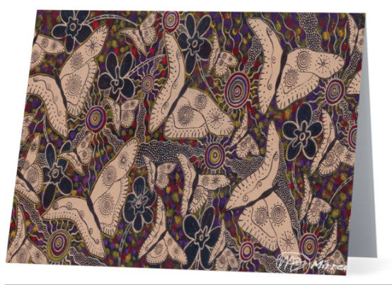 Original Luxury Ancestral Butterfly Aboriginal Art Animal Dreaming Greeting Card Single by Mirree