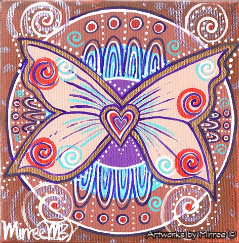 'Ancestral Butterfly with Heart' Original Painting by Mirree Contemporary Dreamtime Animal Dreaming