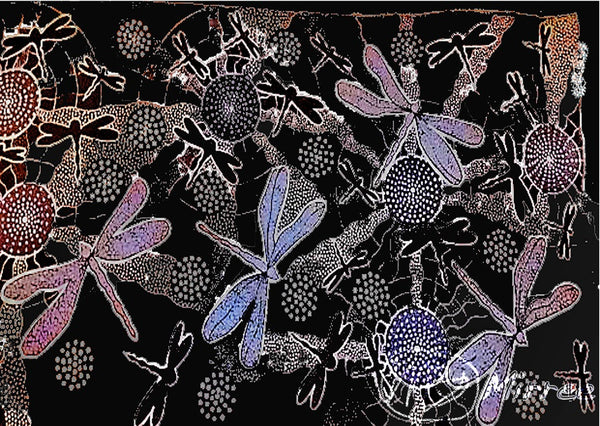Limited Edition Ancestral Dragonfly Painting Girlcee Print by Mirree Contemporary Aboriginal Art