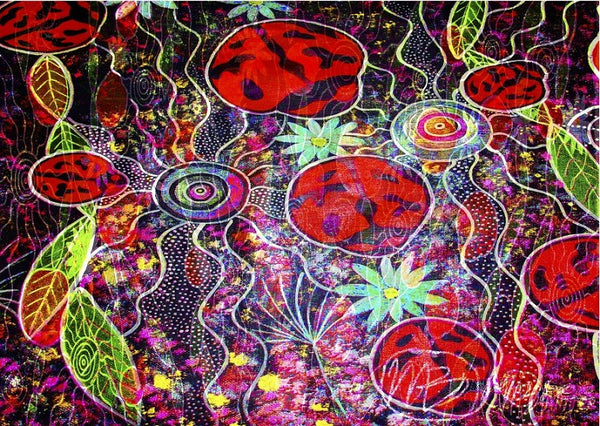 Ancestral Lady Beetle Aboriginal Art Animal Dreaming A6 Gift Card Single by Mirree