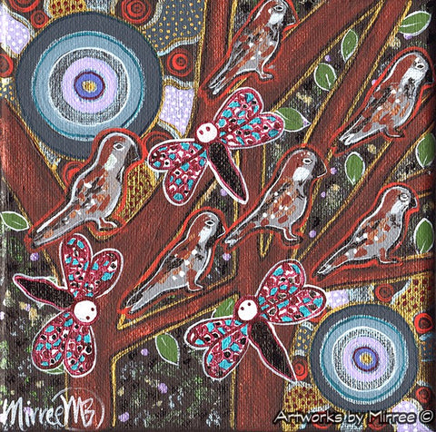 'Ancestral Sparrow with Dragonfly' Original Painting Series by Mirree Contemporary Dreamtime Animal Dreaming