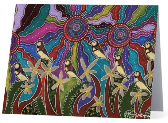 Original Luxury Ancestral Owl Finches Aboriginal Art Animal Dreaming Greeting Card Single by Mirree