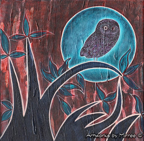 Aqua Moon Night Owl 30cm Contemporary Aboriginal Art Original Painting by Mirree