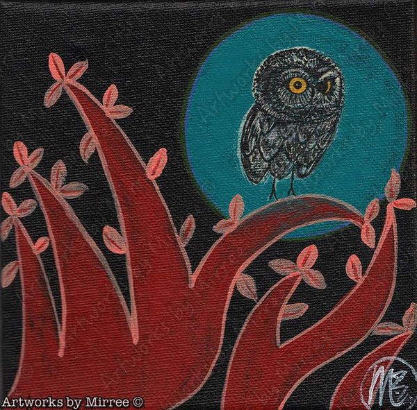 Aqua Moon Night Owl Contemporary Aboriginal Art Original Painting by Mirree