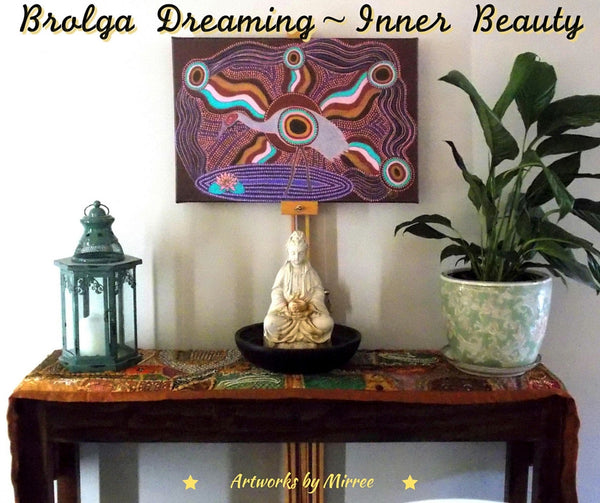 Framed Canvas Animal Dreaming Brolga Print