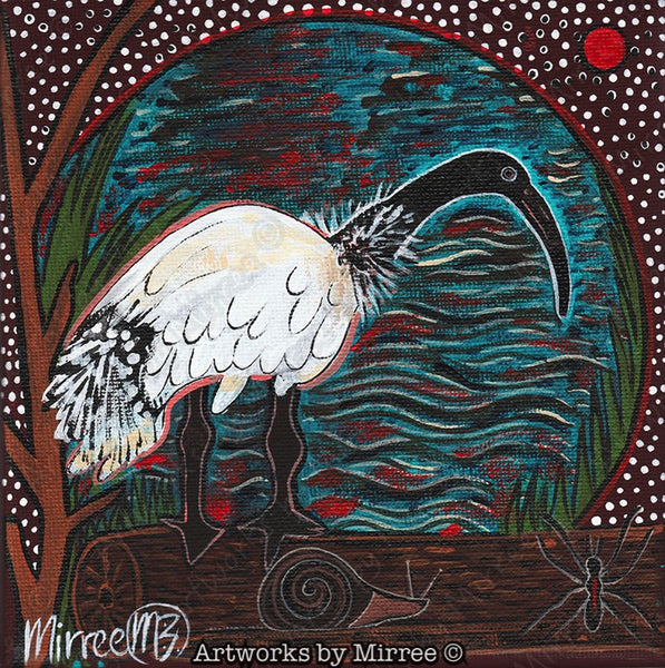 'Australian Ibis Bird' Original Painting by Mirree Contemporary Dreamtime Animal Dreaming