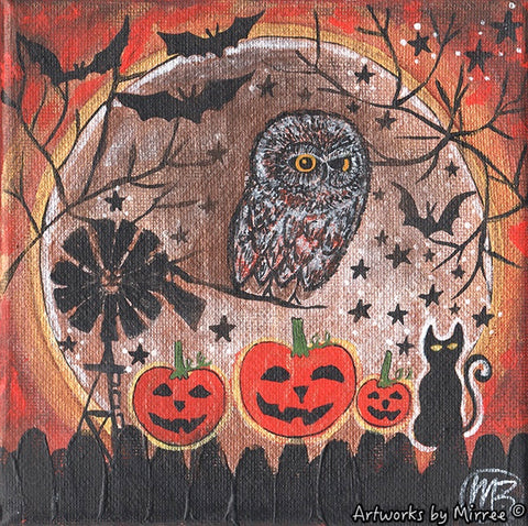 ' AUSTRALIAN HALLOWEEN NIGHT OWL' Original Painting by Mirree Contemporary Dreamtime Animal Dreaming