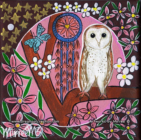 Australian Barn Owl with Dreamcatcher Dreaming Small Contemporary Aboriginal Art Original Painting by Mirree