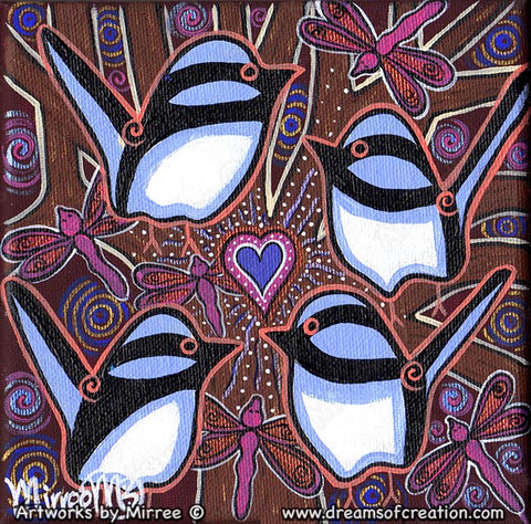 'Blue Wren Peaceful Healing Heart with Dragonfly' Original Painting by Mirree Contemporary Dreamtime Animal Dreaming
