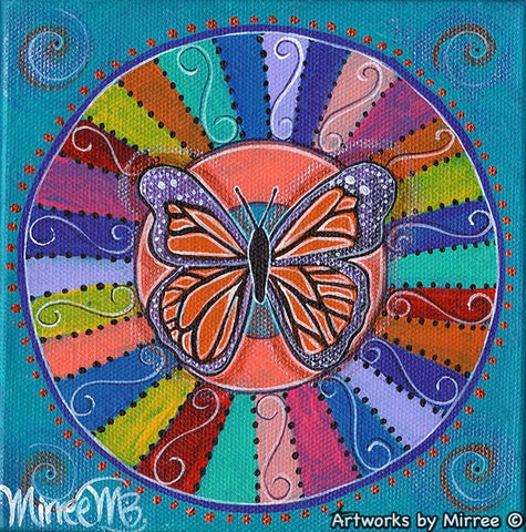 'Butterfly Free' Original Painting by Mirree Contemporary Dreamtime Animal Dreaming