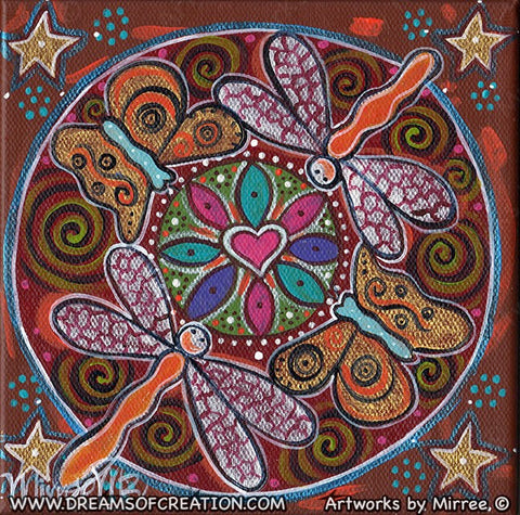 'Dragonfly & Butterfly Renewal' Original Painting by Mirree Contemporary Dreamtime Animal Dreaming