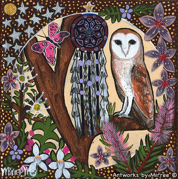 Barn Owl with Dreamcatcher Dreaming Small Contemporary Aboriginal Art Original Painting by Mirree