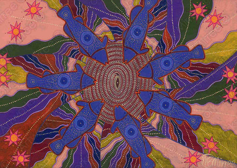 Dreamtime Barramundi Family Healing Circle Contemporary Aboriginal Art Print by Mirree