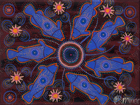 Barramundi Healing Family Circle Dreaming Contempoary Aboriginal Art Original Painting by Mirree