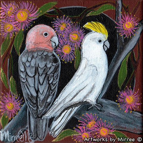 Pink Galah and White Cockatoo with 'Summer Beauty' Flowering Gum Original Painting by Mirree Contemporary Dreamtime Animal Dreaming