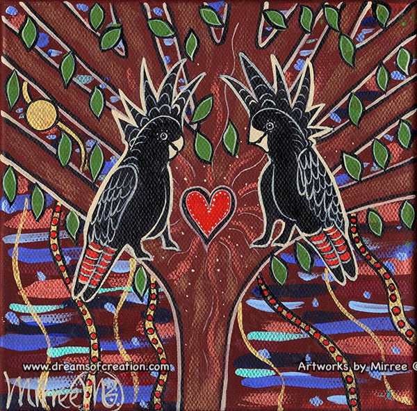 'Australian Red tailed Black Cockatoos' Tree of Life Original Painting Series by Mirree Contemporary Dreamtime Animal Dreaming