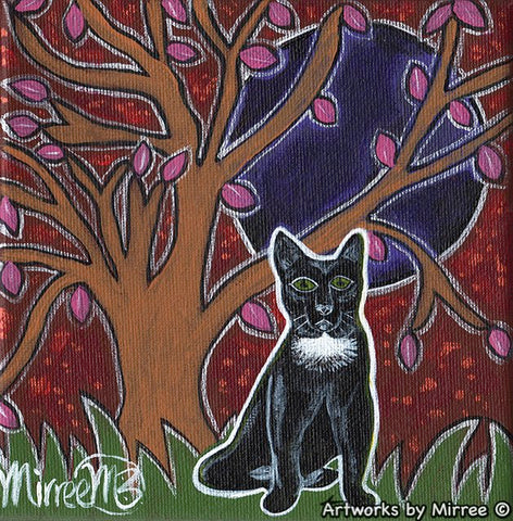 'Black Cat' Original Painting by Mirree Contemporary Dreamtime Animal Dreaming
