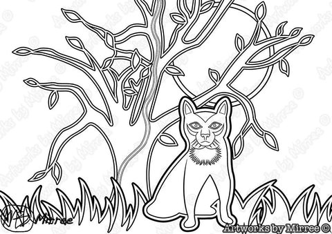 'BLACK CAT Colouring Single PDF Page COLOURING PAGE' by Mirree Contemporary Universal Dreamtime Series