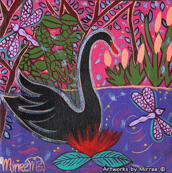 Black Swan Contemporary Aboriginal Art Original Painting by Mirree
