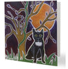 Luxury Black Cat Aboriginal Art Animal Dreaming Square Greeting Card Single by Mirree