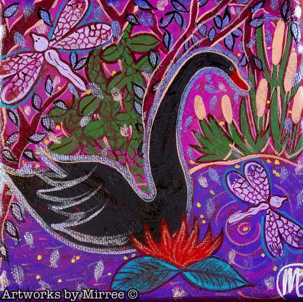 'Black Swan Colouring Single PDF Page COLOURING PAGE' by Mirree Contemporary Dreamtime Series
