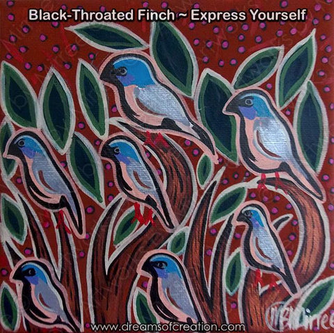 'Black-Throat Finch' Original Painting by Mirree Contemporary Dreamtime Animal Dreaming