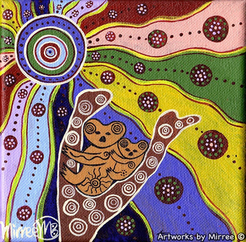 Woodland Guardians Koala and Baby Blue Contemporary Aboriginal Art Original Painting by Mirree