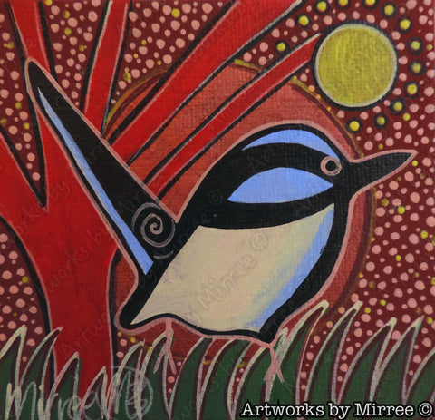 'Blue Wren full of Hope' Original Painting by Mirree Contemporary Dreamtime Animal Dreaming