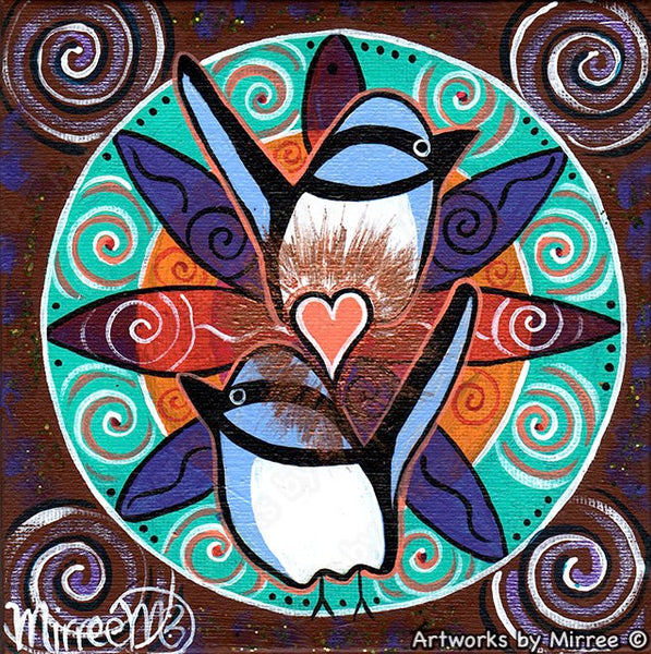'Confident Heart Blue Wren Free as a Bird' Original Painting by Mirree Contemporary Dreamtime Animal Dreaming