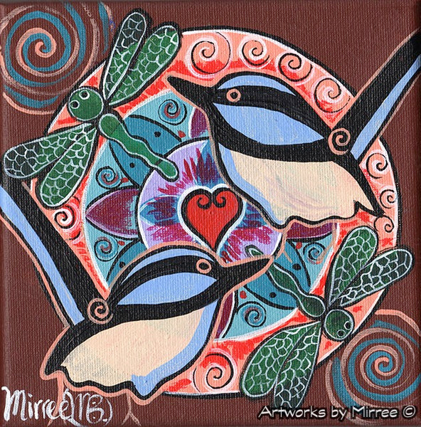'Dragonfly & Wren' Original Painting by Mirree Contemporary Dreamtime Animal Dreaming