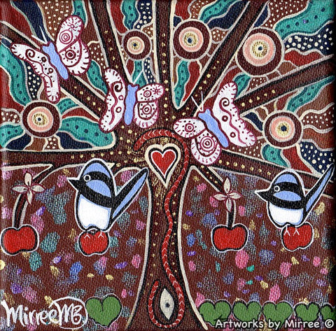 'Sacred Family Tree with Blue Wren & Butterfly' Original Painting by Mirree Contemporary Dreamtime Animal Dreaming