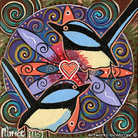 'Blue Wren Free as a Bird' Original Painting by Mirree Contemporary Dreamtime Animal Dreaming