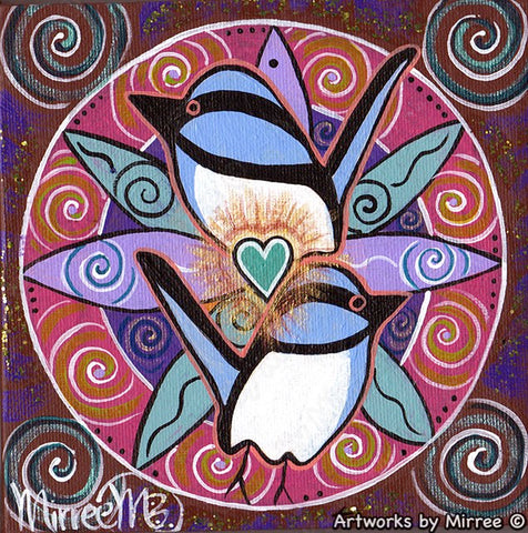 'Peaceful and Loving Heart Blue Wren Free as a Bird' Original Painting by Mirree Contemporary Dreamtime Animal Dreaming