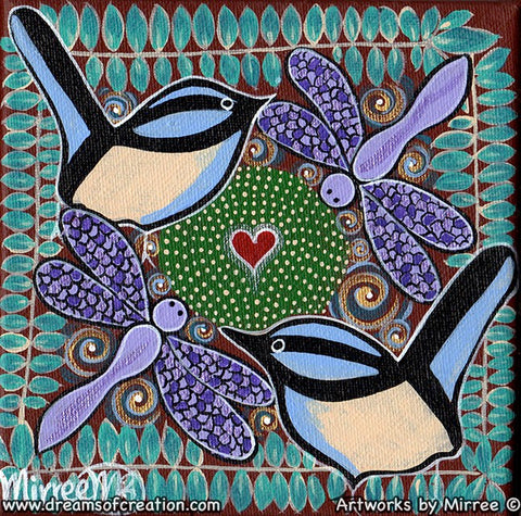 'Sacred Water Site with Blue Wren & Dragonfly' Original Painting by Mirree Contemporary Dreamtime Animal Dreaming