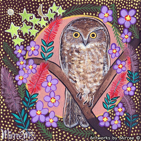 BOO BOOK OWL WITH FLOWER MEDICINE Framed Canvas Print by Mirree Contemporary Aboriginal Art