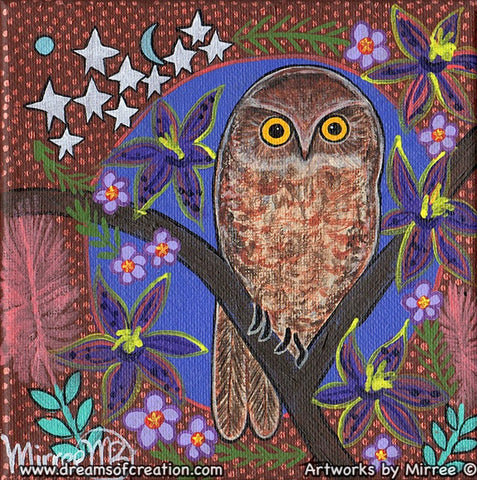 Boo Book Owl with Queen of Sheba Dreaming Small Contemporary Aboriginal Art Original Painting by Mirree